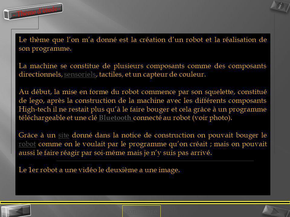 - Thème d'étude - Le thème que l'on m'a donné est la création d'un robot et la réalisation de son programme.