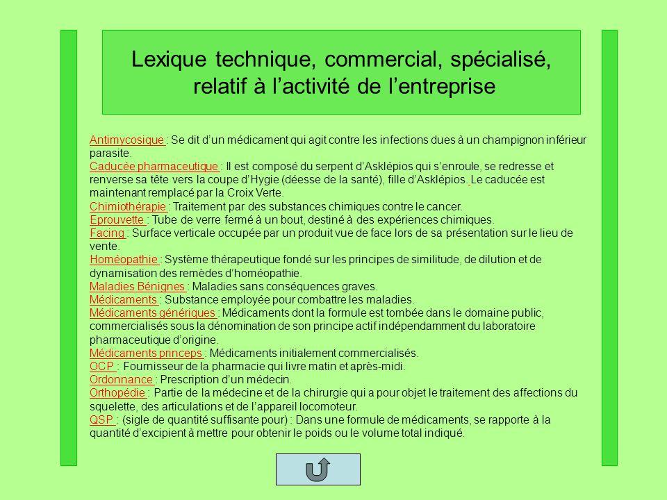 Lexique technique, commercial, spécialisé,