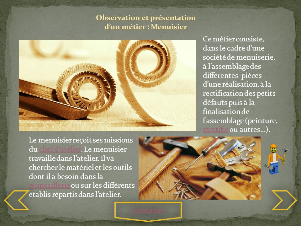 Observation et présentation d'un métier : Menuisier