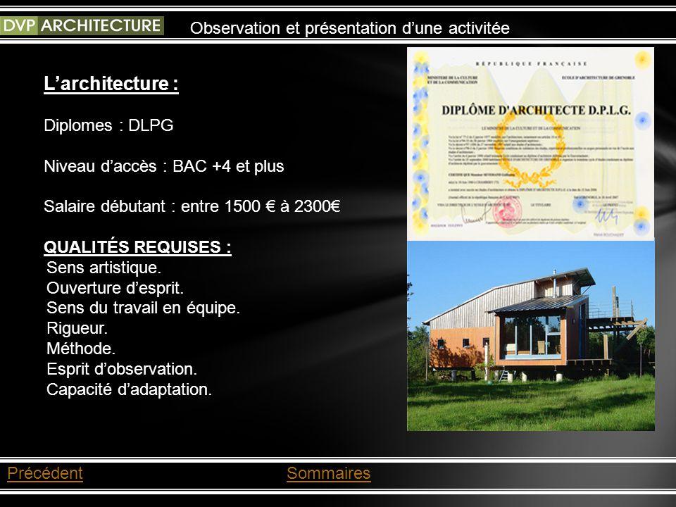 L'architecture : Observation et présentation d'une activitée