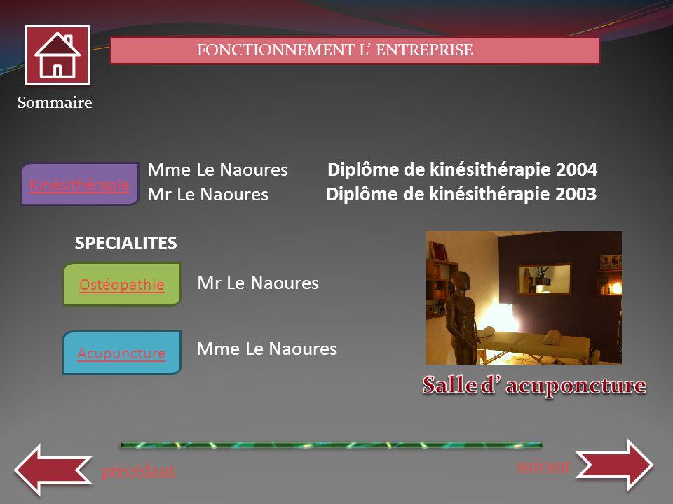 Salle d' acuponcture Mme Le Naoures Diplôme de kinésithérapie 2004