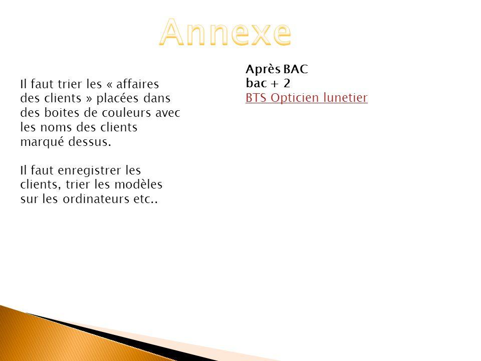 Annexe Après BAC. bac + 2. BTS Opticien lunetier.