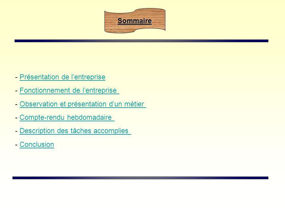 Sommaire Présentation de l'entreprise. - Fonctionnement de l'entreprise. - Observation et présentation d'un métier.