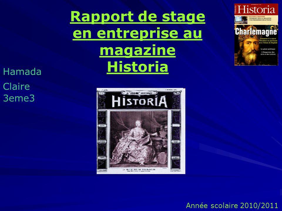 Rapport de stage en entreprise au magazine Historia