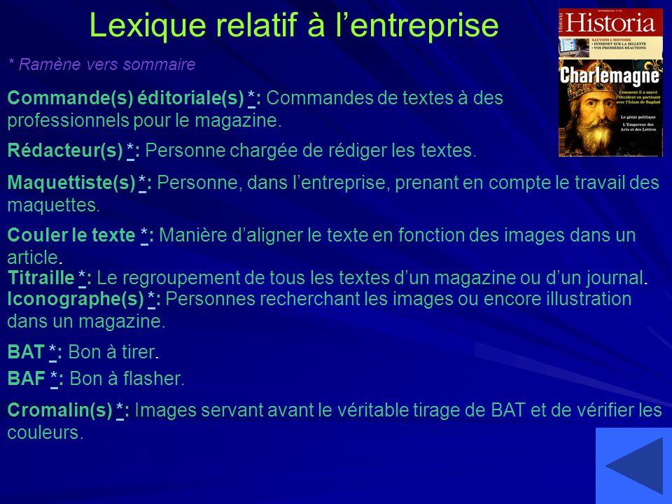 Lexique relatif à l'entreprise