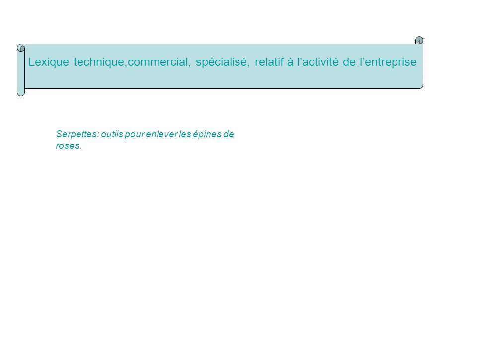 Lexique technique,commercial, spécialisé, relatif à l'activité de l'entreprise