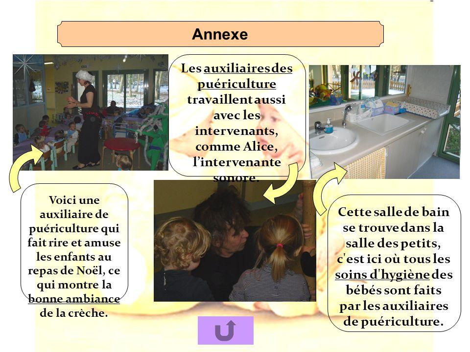 Annexe Les auxiliaires des puériculture travaillent aussi avec les intervenants, comme Alice, l'intervenante sonore.