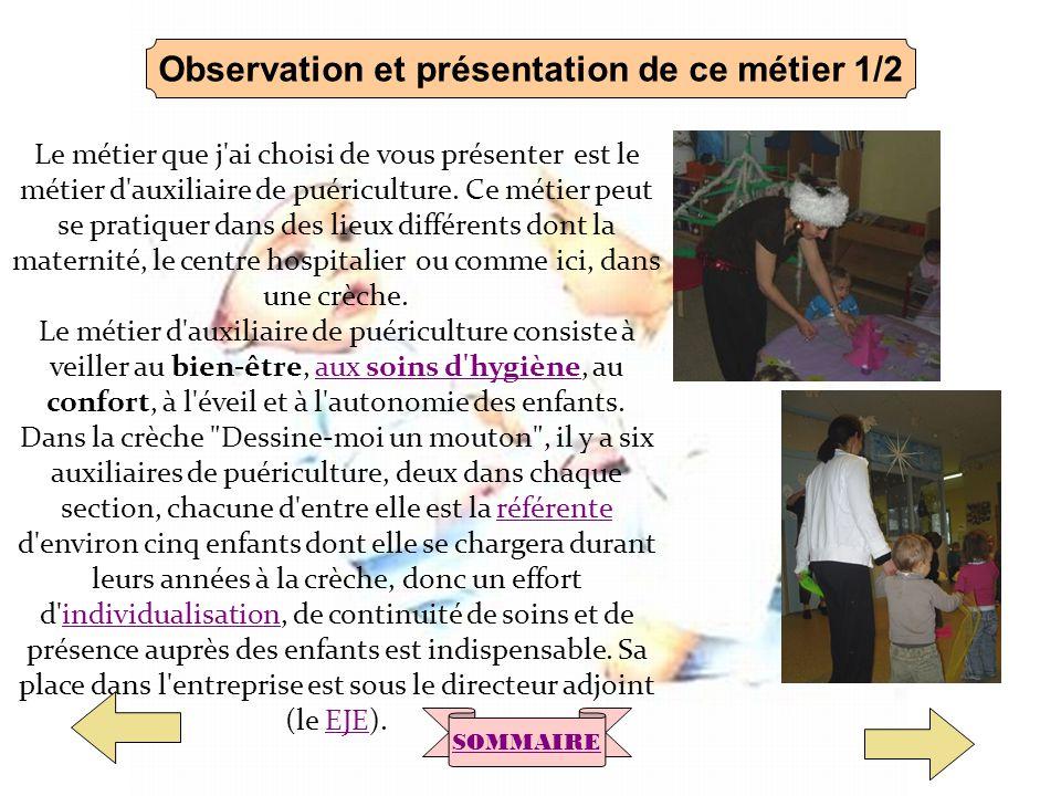 Observation et présentation de ce métier 1/2