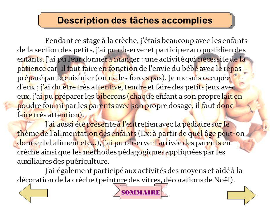 Description des tâches accomplies