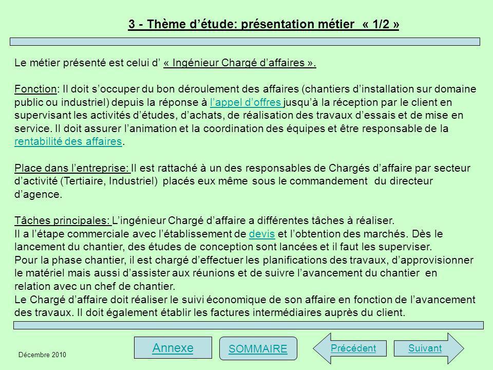 3 - Thème d'étude: présentation métier « 1/2 »