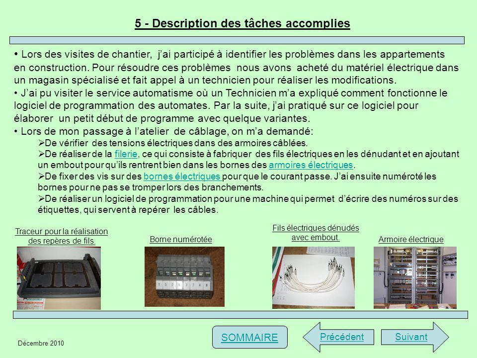 5 - Description des tâches accomplies