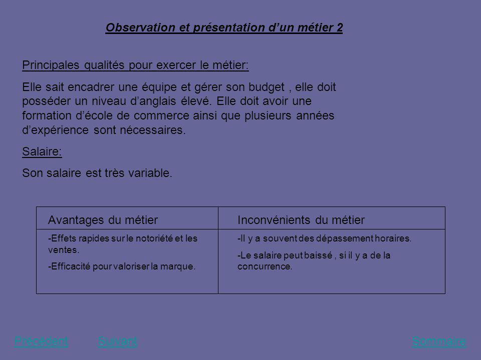 Observation et présentation d'un métier 2