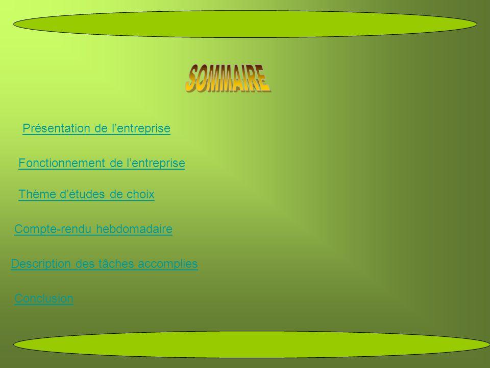 SOMMAIRE Présentation de l'entreprise Fonctionnement de l'entreprise