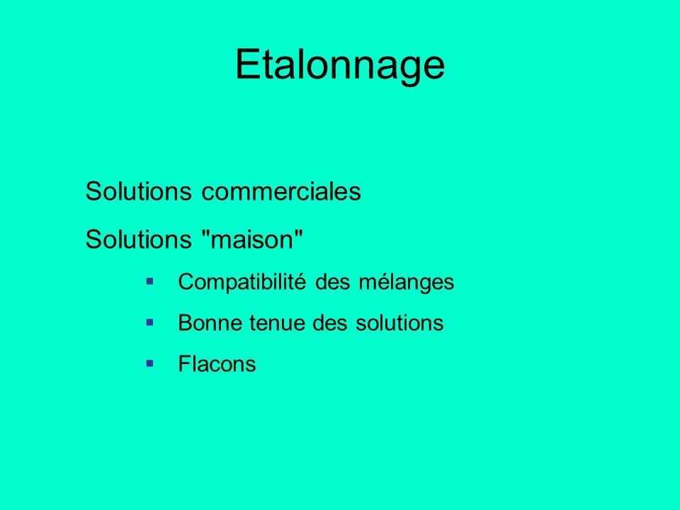 Etalonnage Solutions commerciales Solutions maison