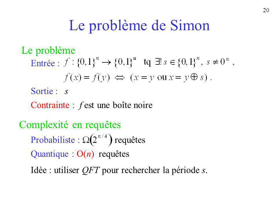 Le problème de Simon Le problème Complexité en requêtes Entrée :