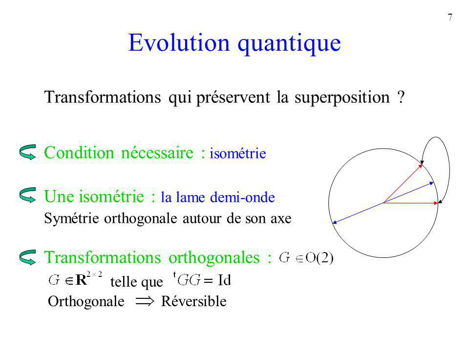 Evolution quantique Transformations qui préservent la superposition