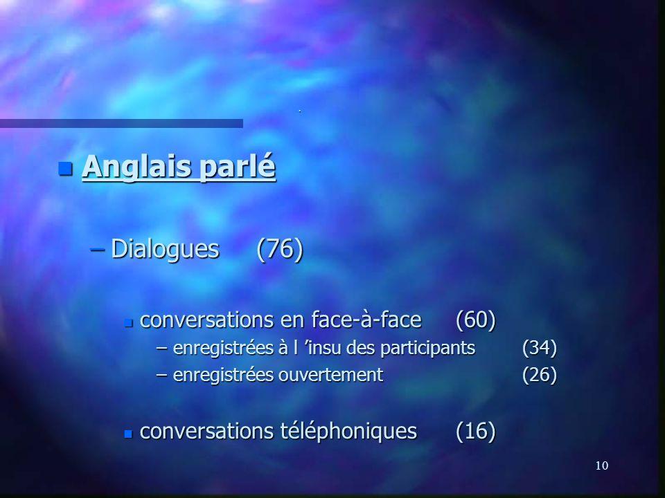 Anglais parlé Dialogues (76) conversations en face-à-face (60)