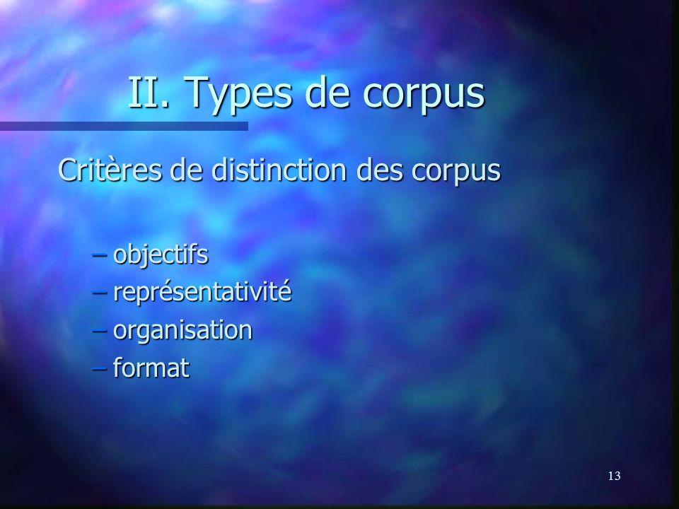 II. Types de corpus Critères de distinction des corpus objectifs