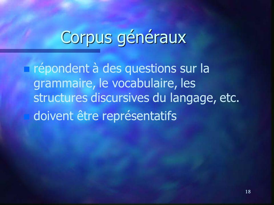 Corpus généraux répondent à des questions sur la grammaire, le vocabulaire, les structures discursives du langage, etc.