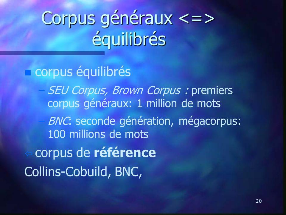 Corpus généraux <=> équilibrés