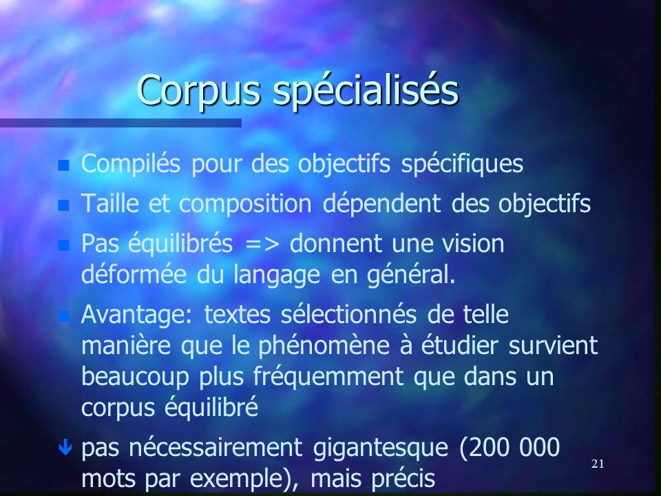 Corpus spécialisés Compilés pour des objectifs spécifiques