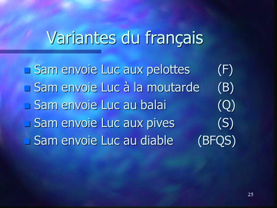 Variantes du français Sam envoie Luc aux pelottes (F)