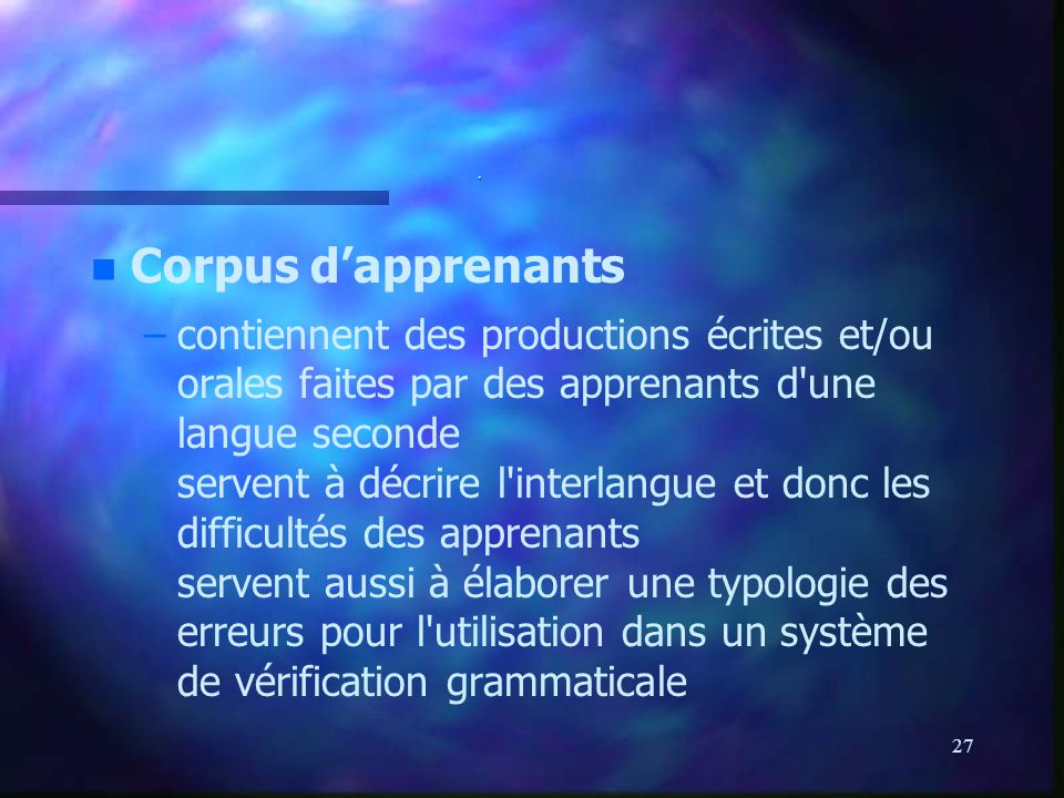 . Corpus d'apprenants.