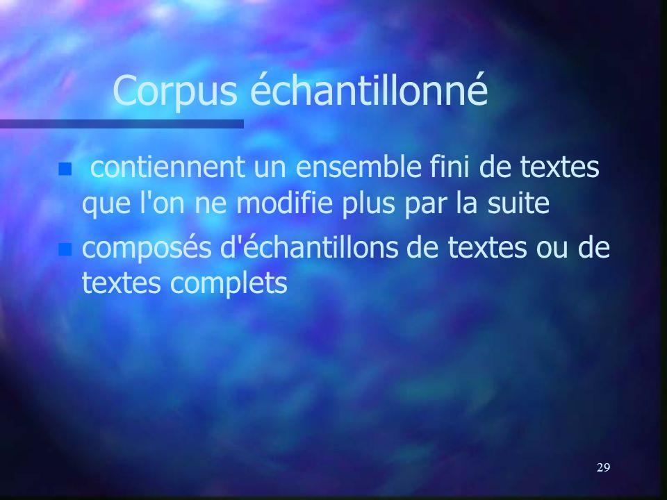 Corpus échantillonné contiennent un ensemble fini de textes que l on ne modifie plus par la suite.