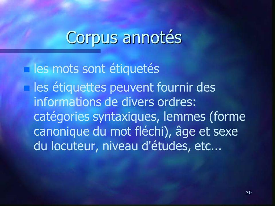 Corpus annotés les mots sont étiquetés