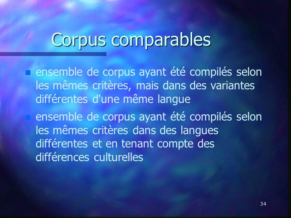 Corpus comparables ensemble de corpus ayant été compilés selon les mêmes critères, mais dans des variantes différentes d une même langue.