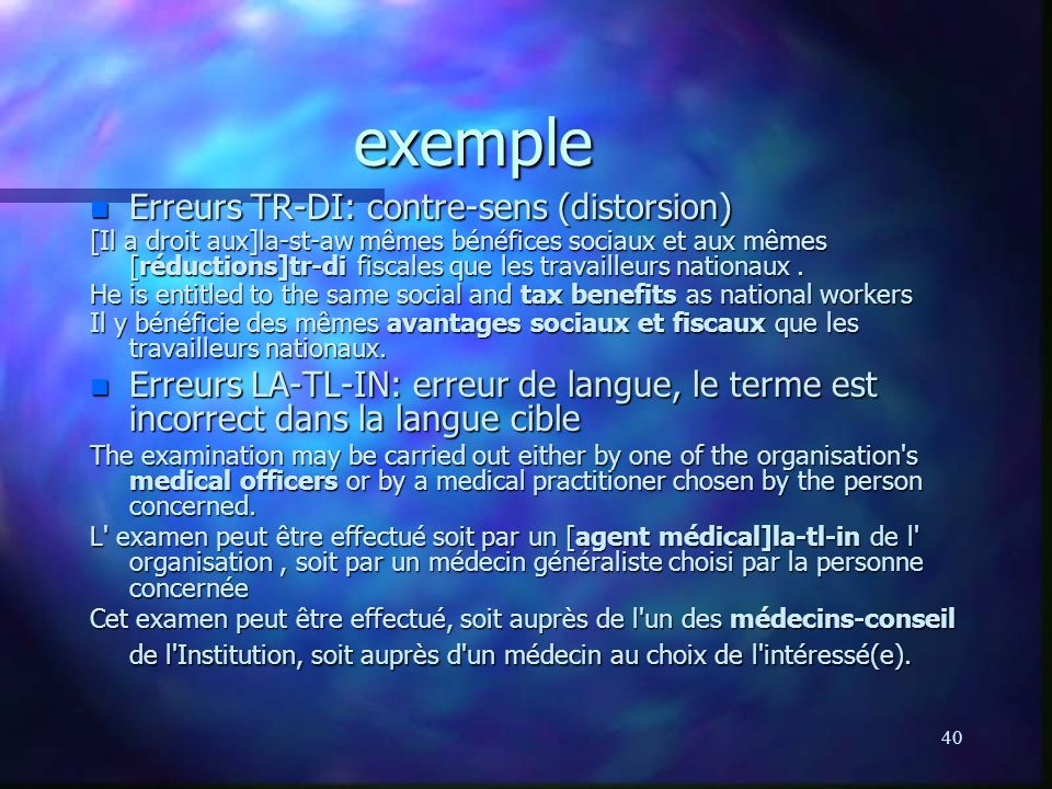 exemple Erreurs TR-DI: contre-sens (distorsion)