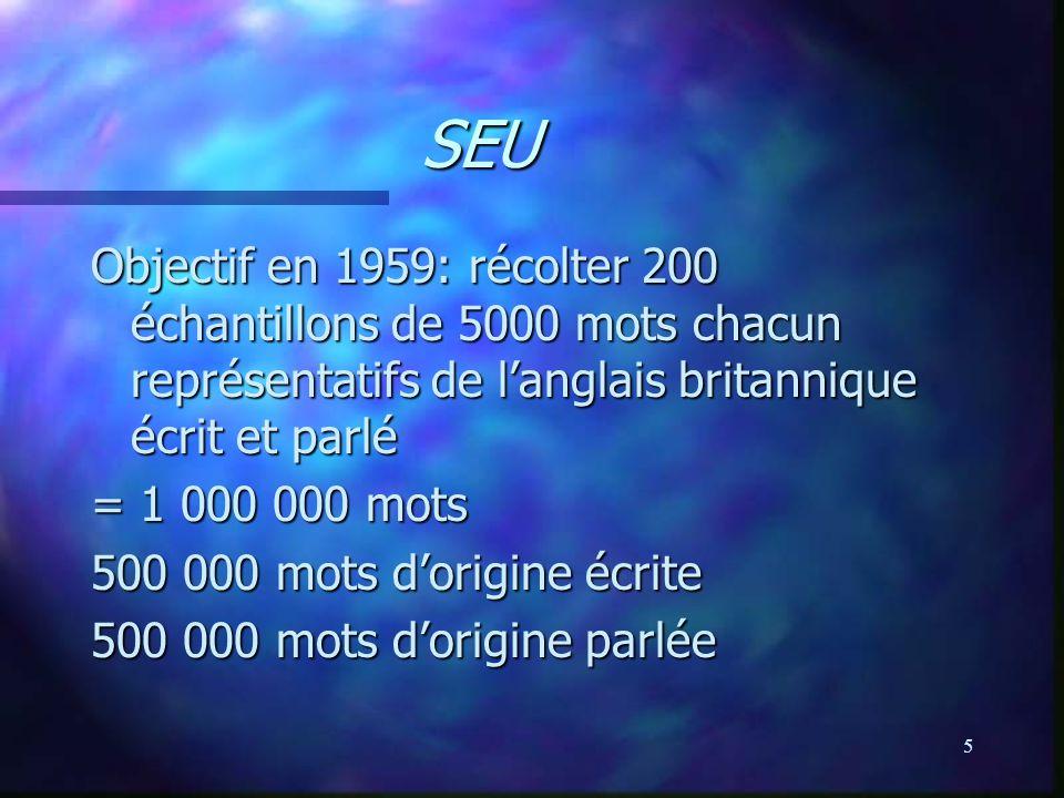 SEU Objectif en 1959: récolter 200 échantillons de 5000 mots chacun représentatifs de l'anglais britannique écrit et parlé.