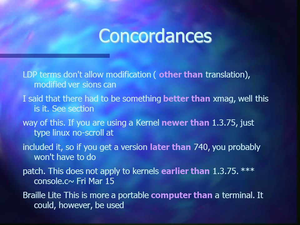 Concordances LDP terms don t allow modification ( other than translation), modified ver­ sions can.
