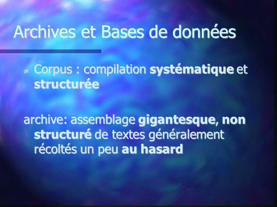Archives et Bases de données