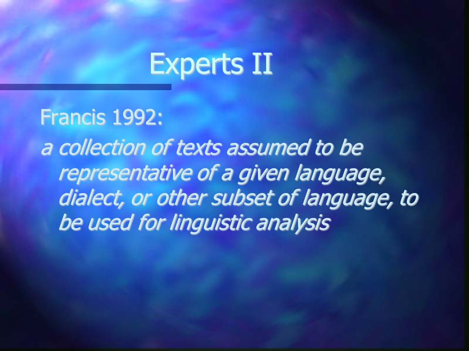 Experts II Francis 1992: