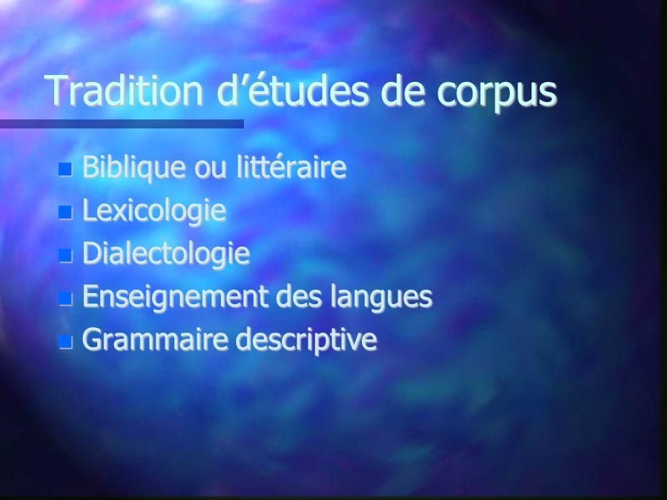 Tradition d'études de corpus