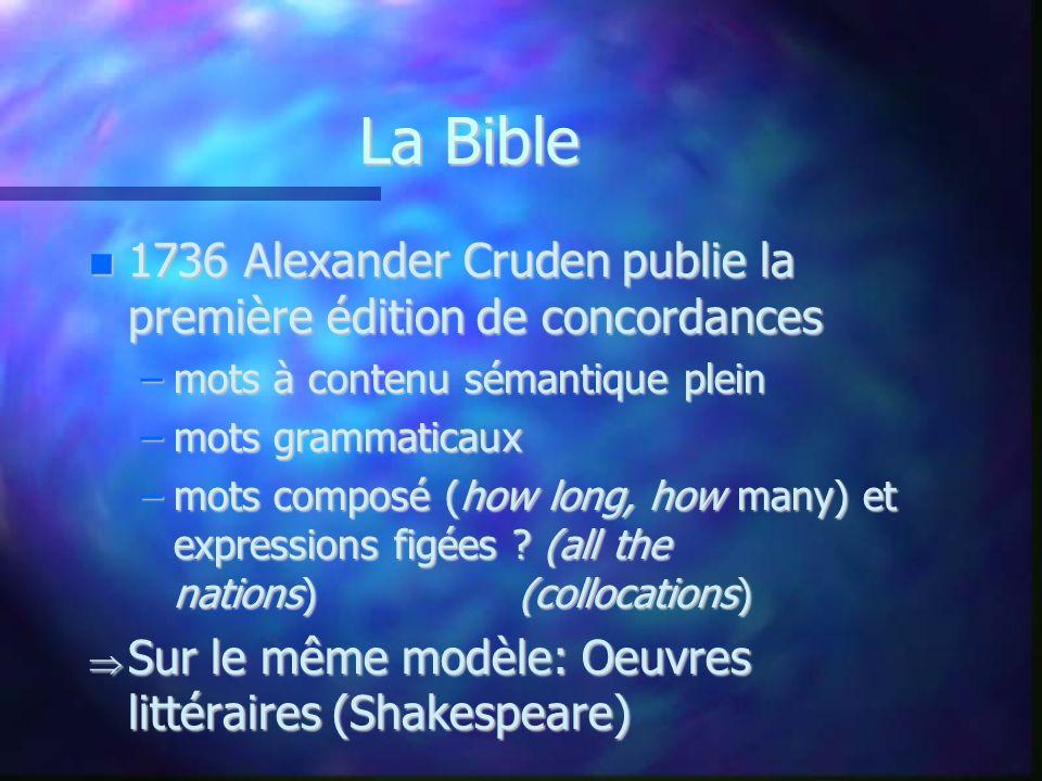 La Bible 1736 Alexander Cruden publie la première édition de concordances. mots à contenu sémantique plein.