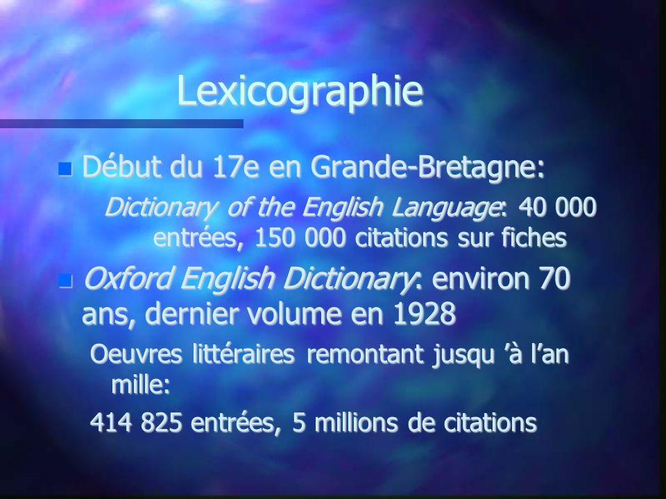 Lexicographie Début du 17e en Grande-Bretagne: