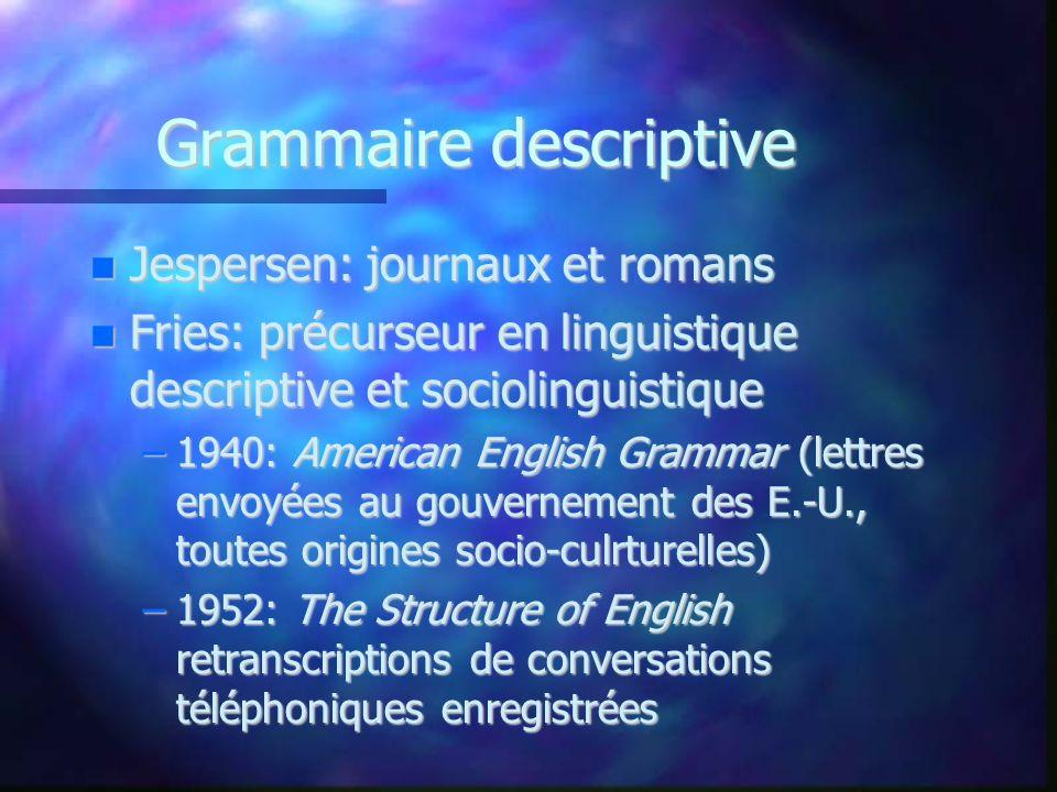 Grammaire descriptive