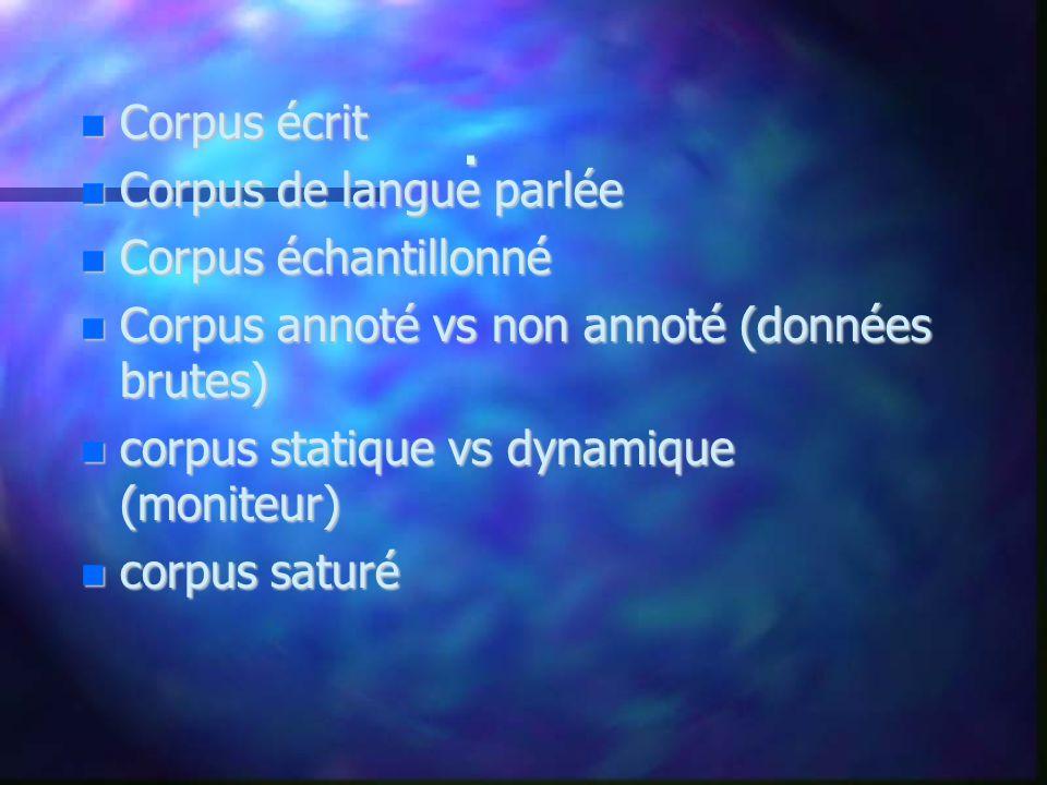 . Corpus écrit Corpus de langue parlée Corpus échantillonné