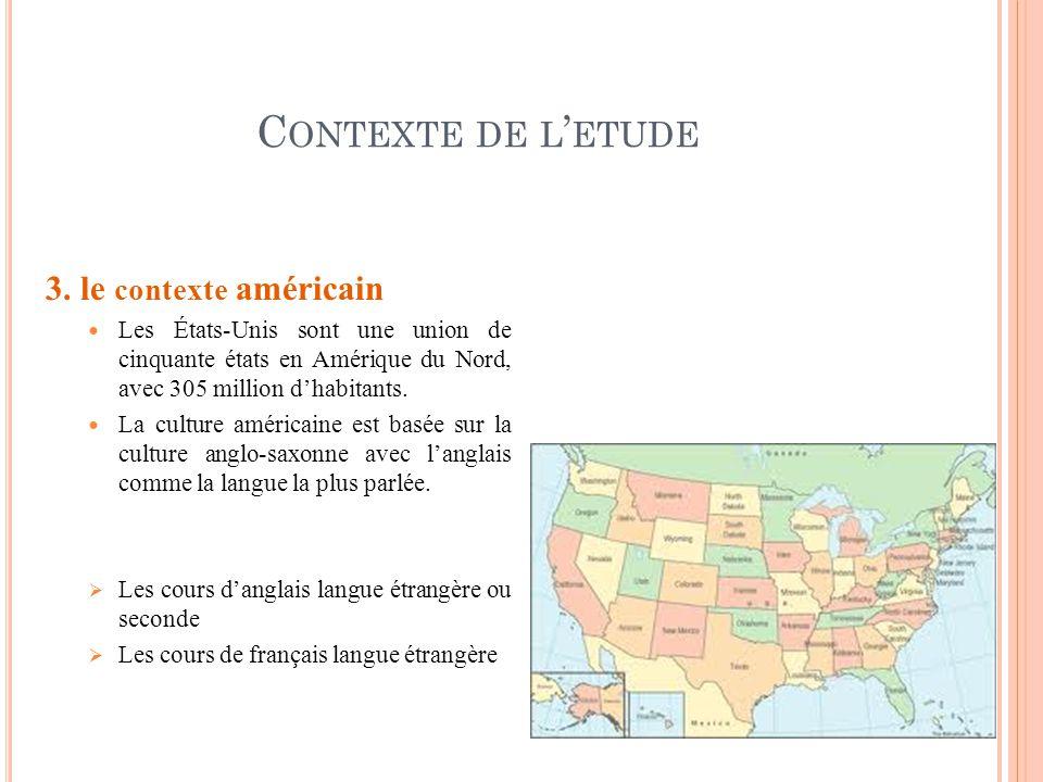 Contexte de l'etude 3. le contexte américain
