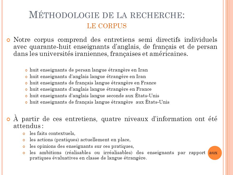 Méthodologie de la recherche: le corpus