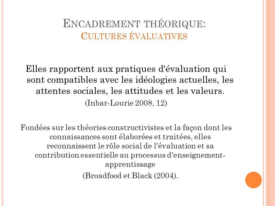 Encadrement théorique: Cultures évaluatives