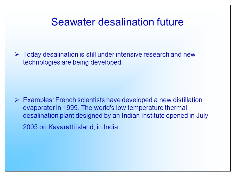 Seawater desalination future