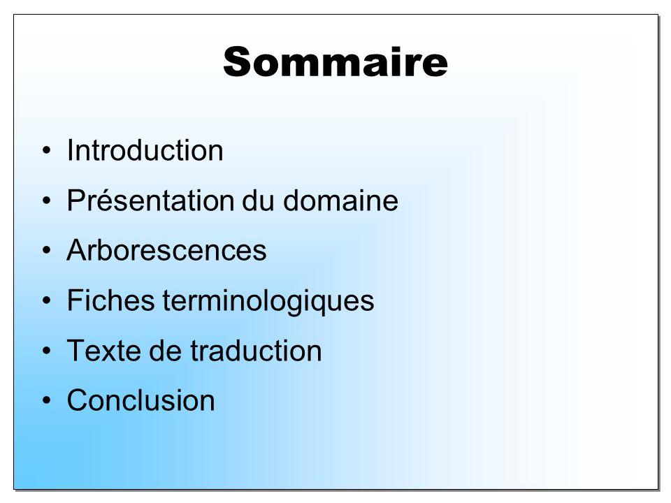 Sommaire Introduction Présentation du domaine Arborescences