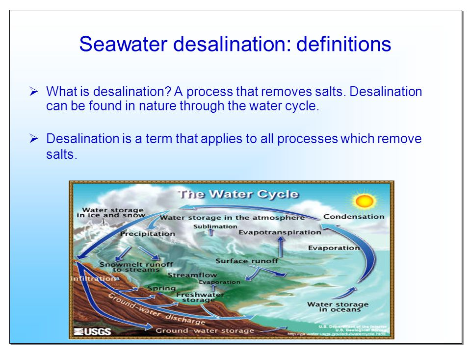 seawater desalination essay Methods used to convert seawater to drinkable water desalination method is used to convert the saline seawater to drinkable water it refers to processes that remove some amount of salt and minerals from water desalination refers to the removal of salts and minerals from seawater that has a lot of salt dissolved in it the largest world.