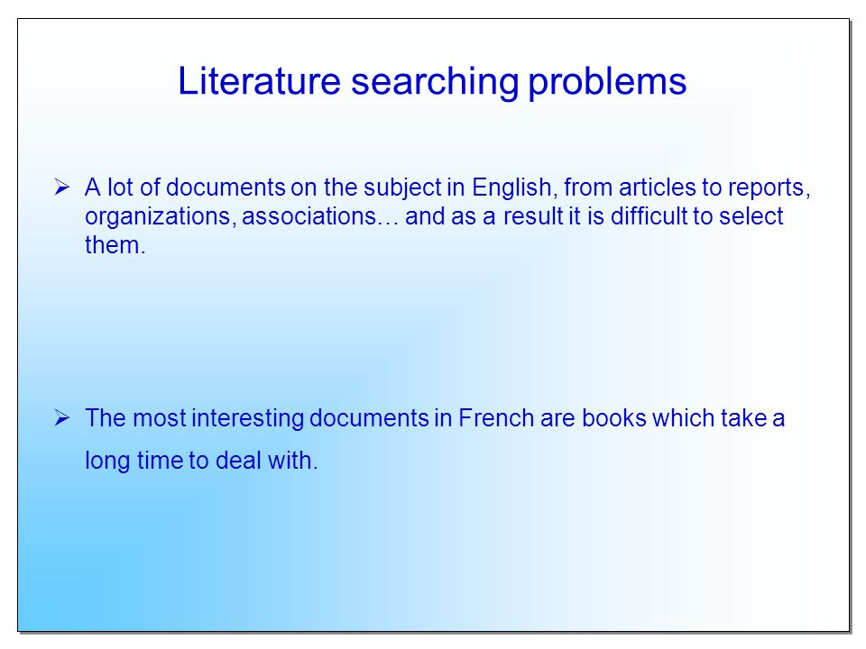 Literature searching problems