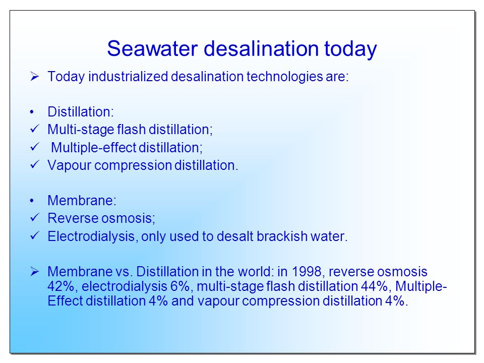 Seawater desalination today