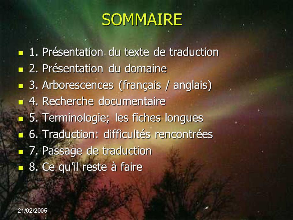 SOMMAIRE 1. Présentation du texte de traduction