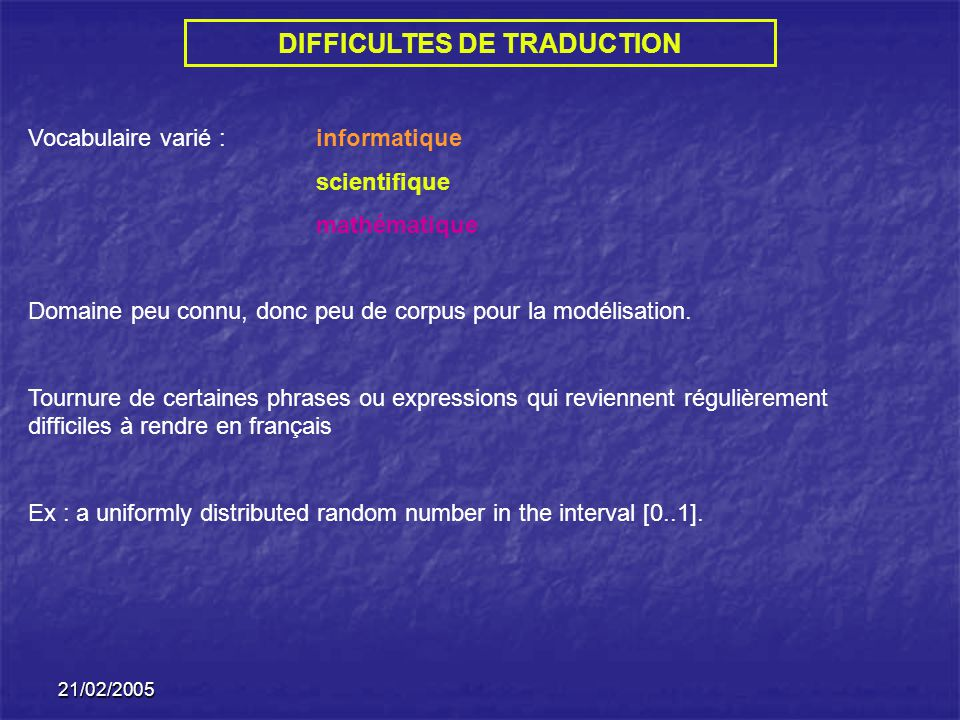 DIFFICULTES DE TRADUCTION